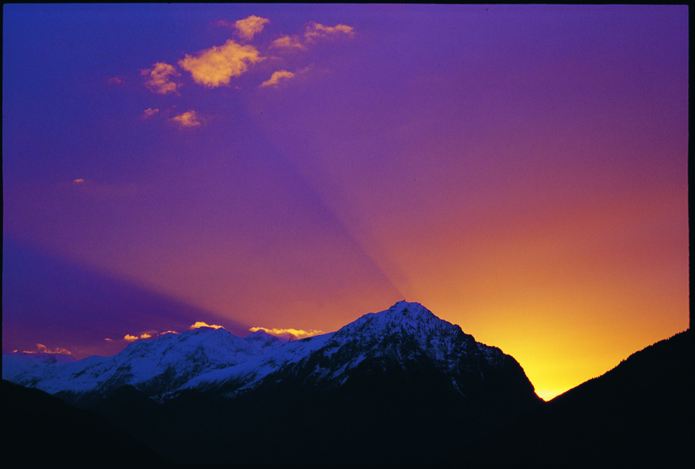 Vaujany sunset with purple light