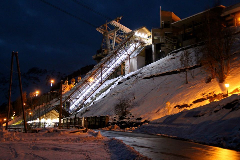Funicular at night